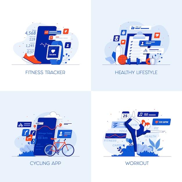 Icone concettuali piatte Vettore Premium