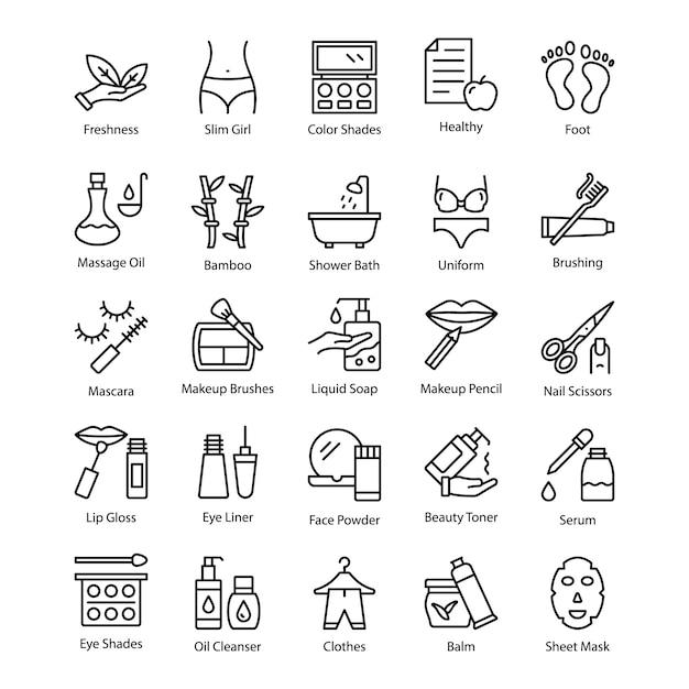 Icone creative della linea del salone e della stazione termale Vettore Premium