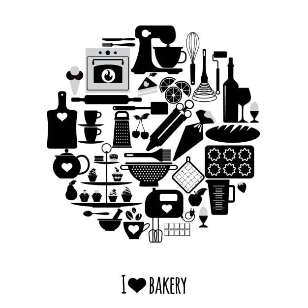 Icone da forno set elementi del vettore per il vostro disegno Vettore gratuito