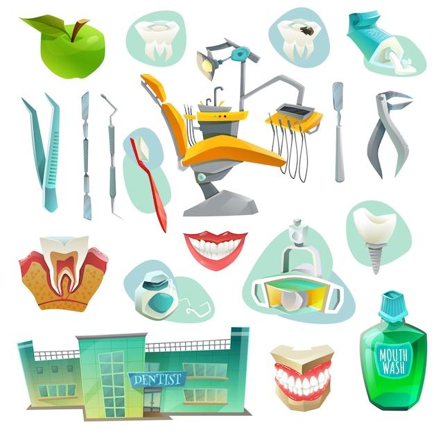 Icone decorative dell'ufficio dentario messe Vettore gratuito