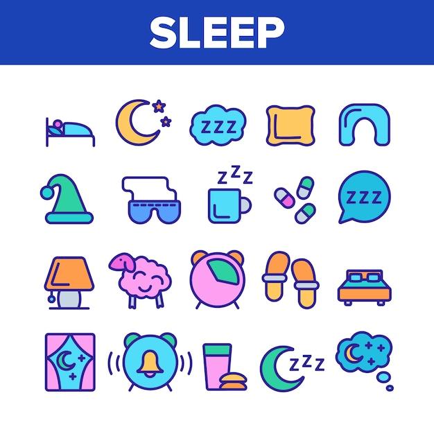 Icone degli elementi di tempo di sonno messe Vettore Premium