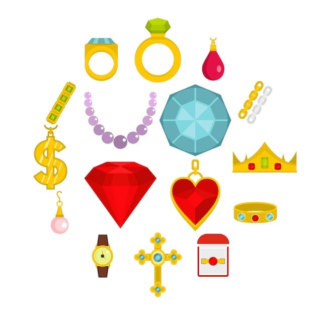 Icone degli oggetti dei gioielli messe nello stile piano Vettore Premium