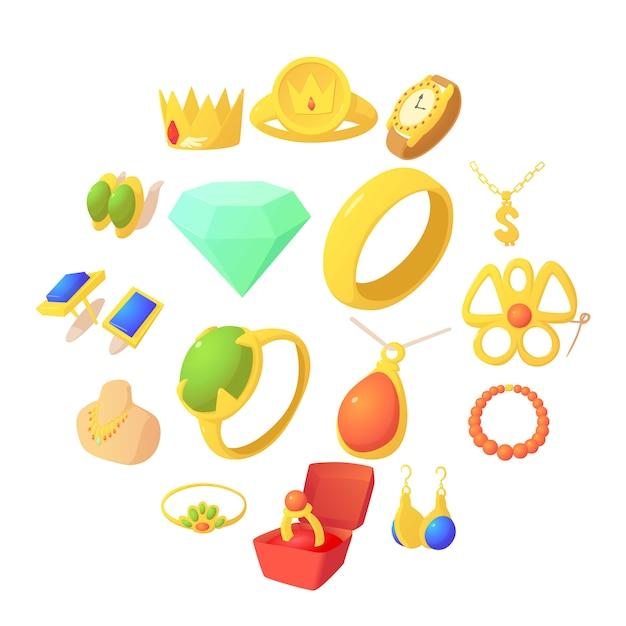 Icone degli oggetti dei gioielli messe, stile del fumetto Vettore Premium
