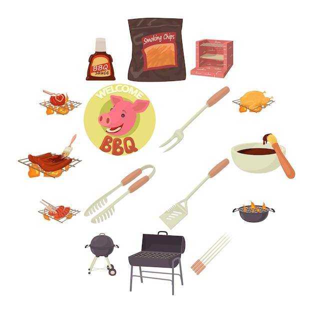 Icone degli strumenti del barbecue messe, stile del fumetto Vettore Premium