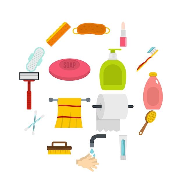 Icone degli strumenti di igiene messe nello stile piano Vettore Premium