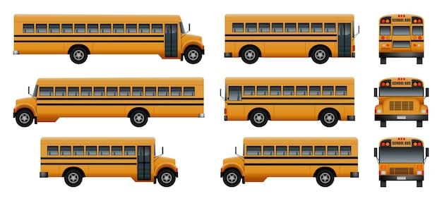 Icone dei bambini della parte posteriore dello scuolabus messe Vettore Premium