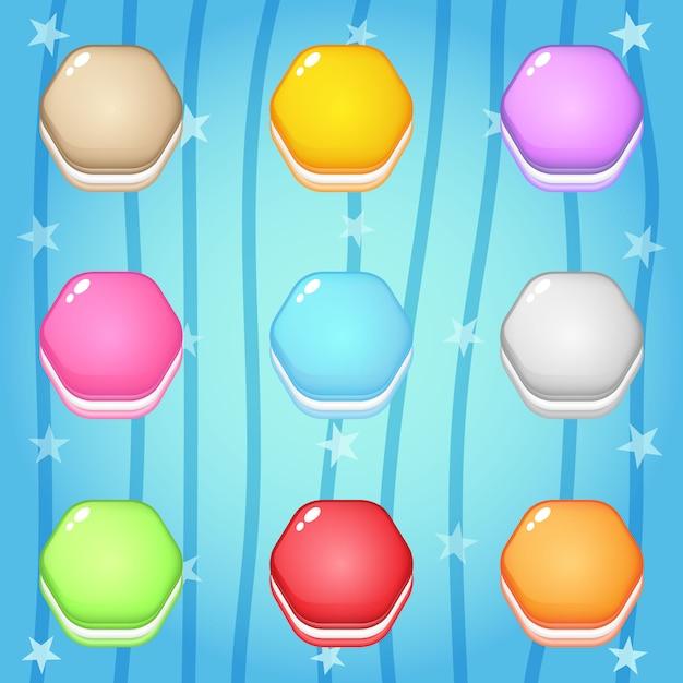 Icone dei biscotti nell'esagono di forma per progettazione del gioco. Vettore Premium