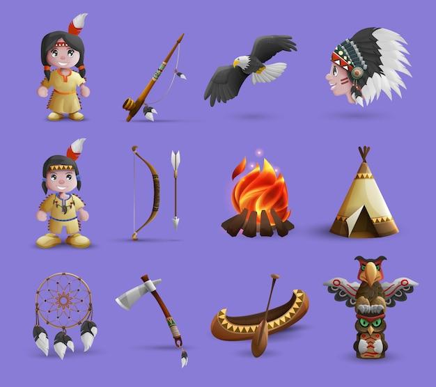 Icone dei cartoni animati nativi americani Vettore gratuito