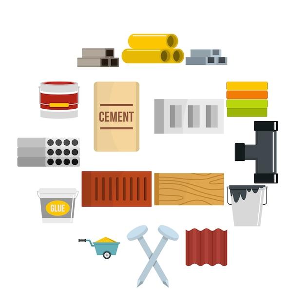 Icone dei materiali da costruzione messe nello stile piano Vettore Premium