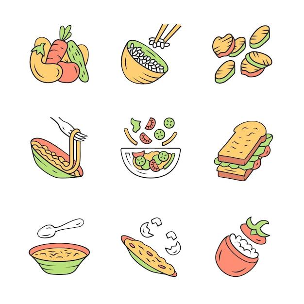 Icone dei piatti del menu del ristorante messe. Vettore Premium