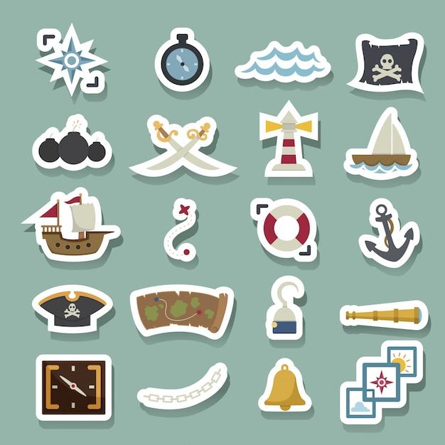Icone dei pirati Vettore Premium