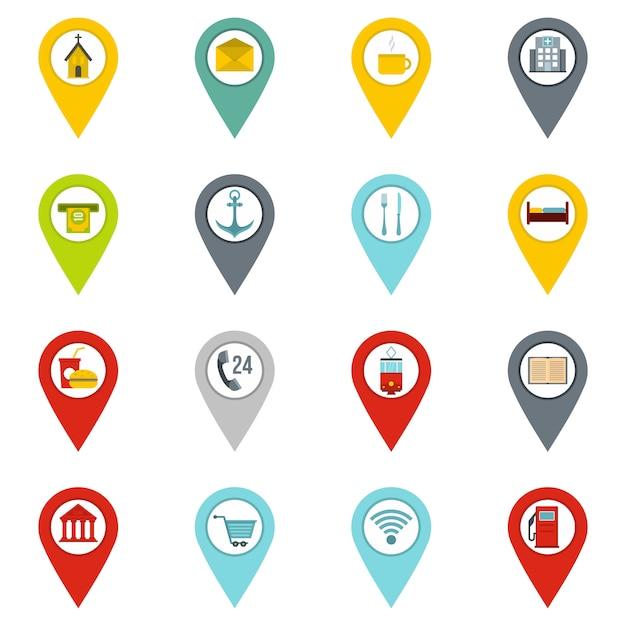 Icone dei punti di interesse impostate in stile piano Vettore Premium