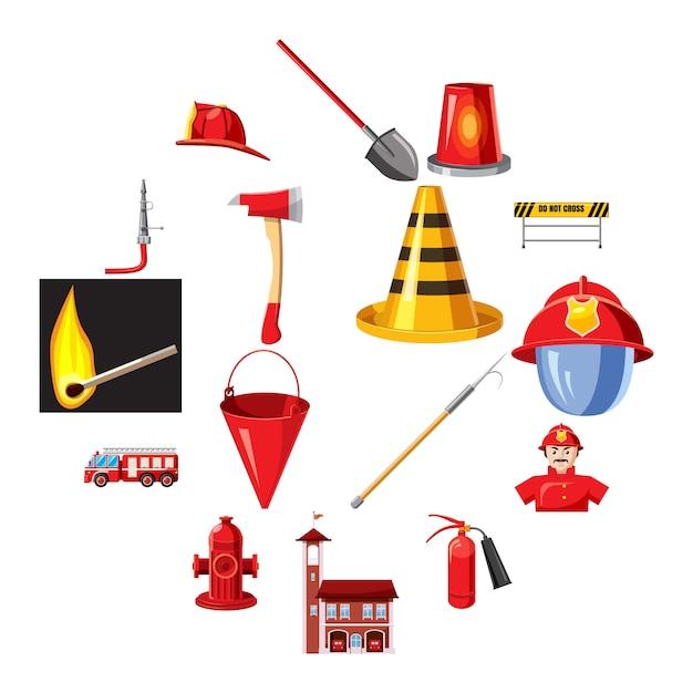 Icone dei vigili del fuoco messe, stile del fumetto Vettore Premium