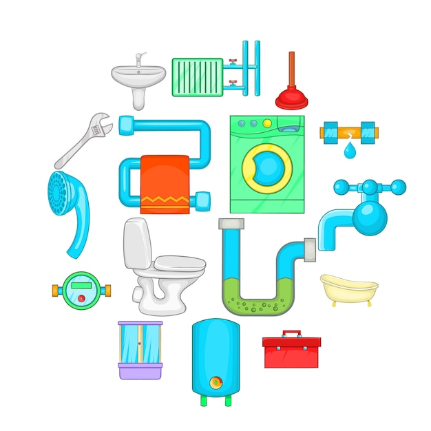 Icone del bagno messe, stile del fumetto Vettore Premium