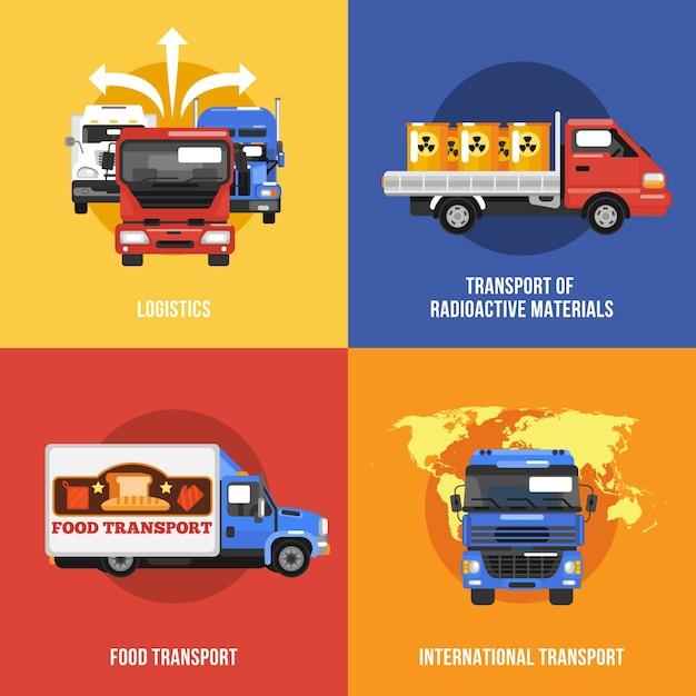Icone del camion piatte Vettore gratuito