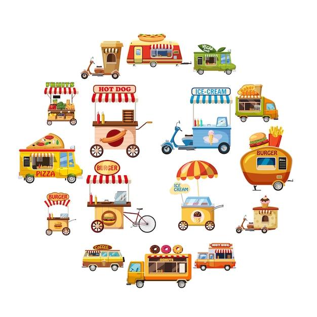 Icone del chiosco dell'alimento della via messe, stile del fumetto Vettore Premium