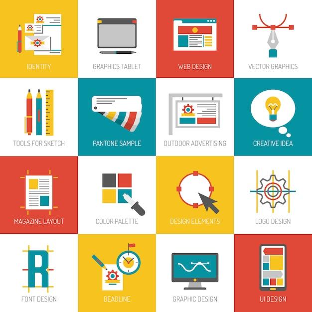 Icone del design grafico Vettore gratuito