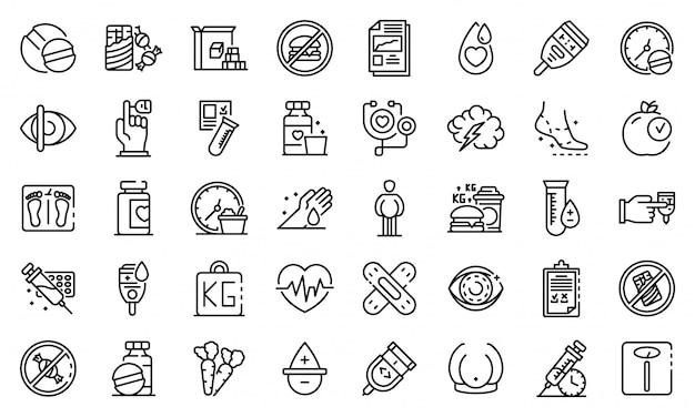 Icone del diabete messe, struttura di stile Vettore Premium