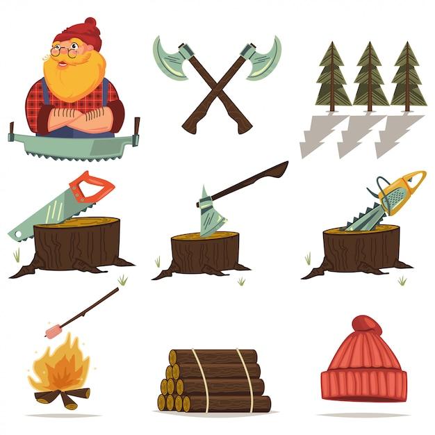 Icone del fumetto degli strumenti del boscaiolo, del legname e di falegnameria messe isolate. motosega, ascia, ceppo di albero, legna, foresta e altro ancora. Vettore Premium
