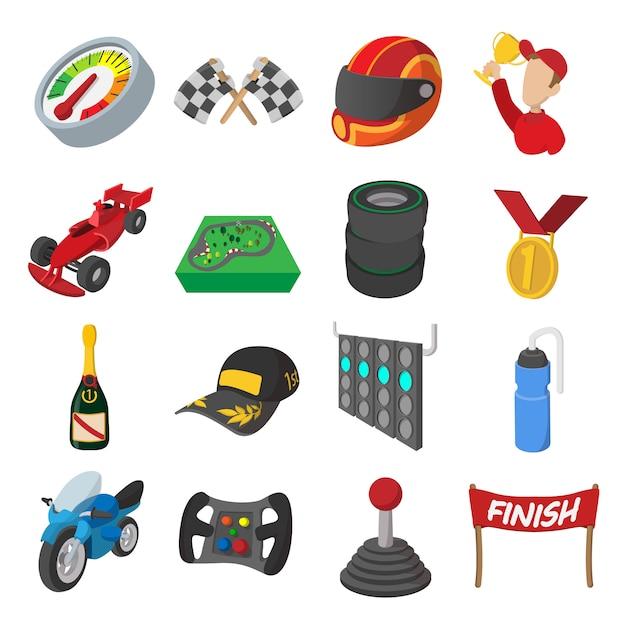 Icone del fumetto di corse automobilistiche impostate. illustrazioni isolate Vettore Premium