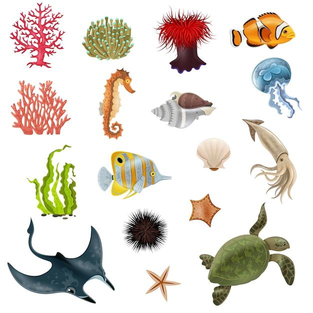 Icone del fumetto di vita di mare messe Vettore gratuito