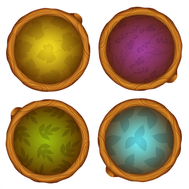 Icone del gioco rotondo in legno dei cartoni animati Vettore Premium