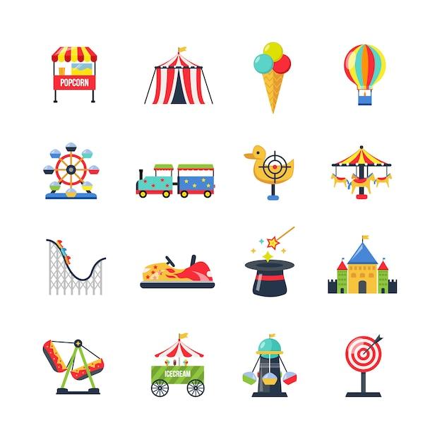 Icone del parco di divertimenti isolato colore piatto Vettore gratuito