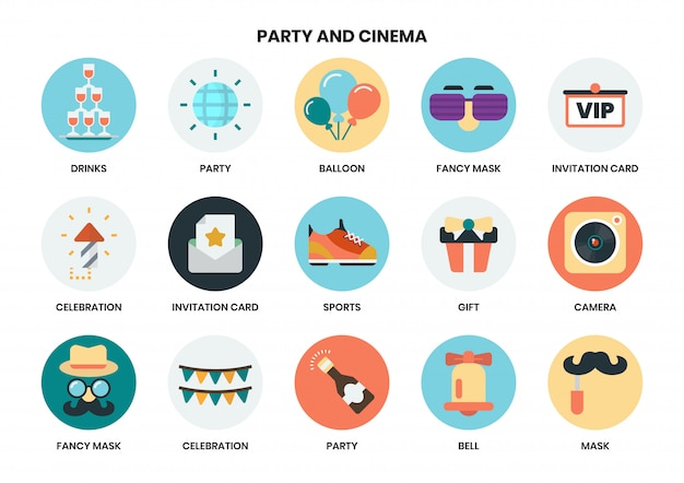 Icone del partito impostate per le imprese Vettore Premium