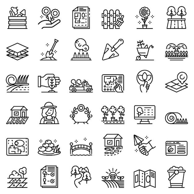 Icone del progettista del paesaggio messe, struttura di stile Vettore Premium
