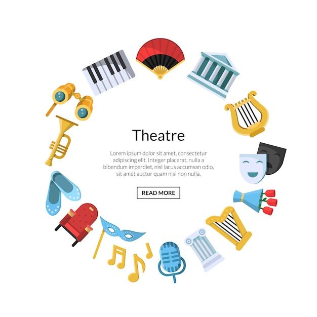 Icone del teatro piatto in cerchio Vettore Premium
