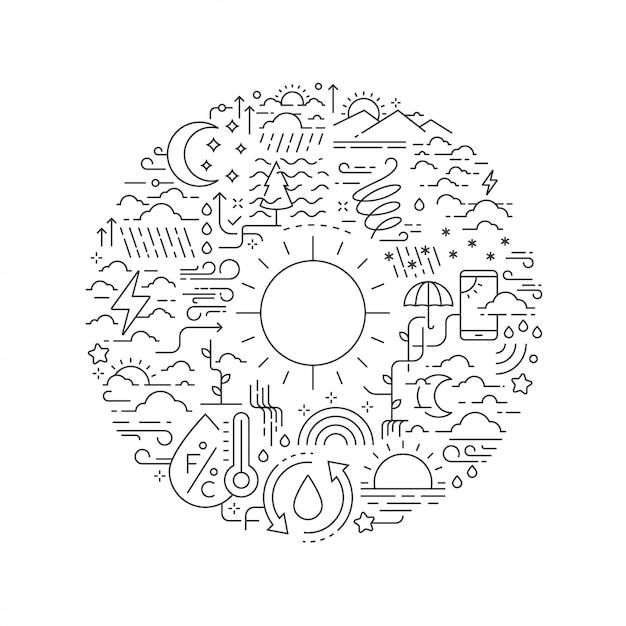 Icone del tempo linea in forma rotonda isolato Vettore Premium