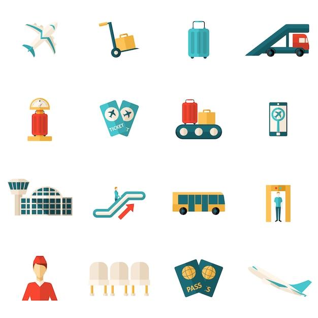 Icone dell'aeroporto piane Vettore gratuito