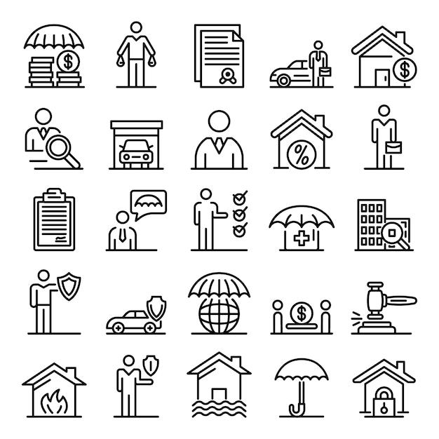 Icone dell'agente assicurativo messe, struttura di stile Vettore Premium