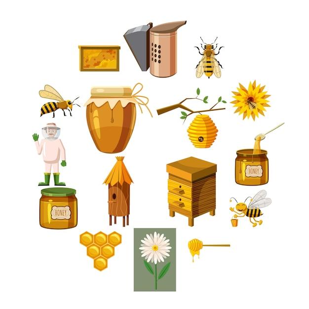 Icone dell'apiario messe, stile del fumetto Vettore Premium