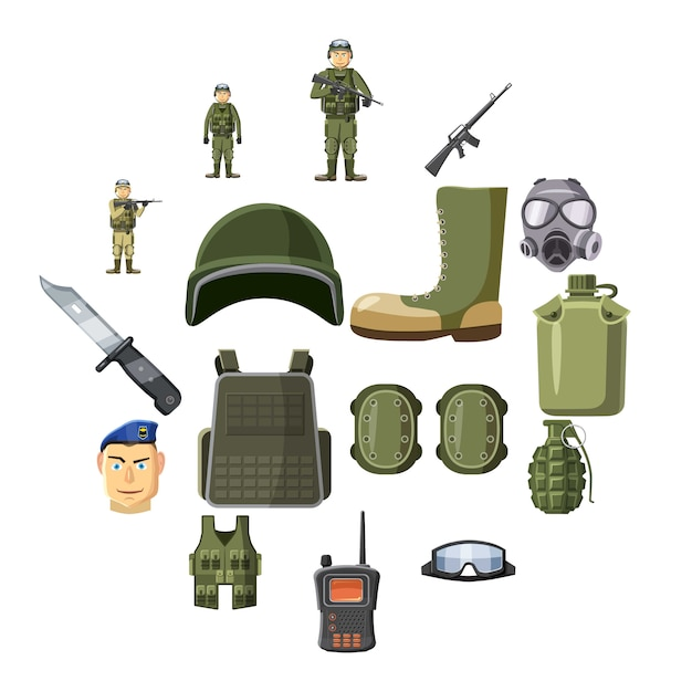 Icone dell'arma militare messe, stile del fumetto Vettore Premium