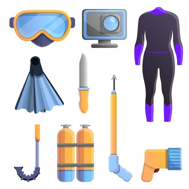 Icone dell'attrezzatura di snorkeling messe, stile del fumetto Vettore Premium