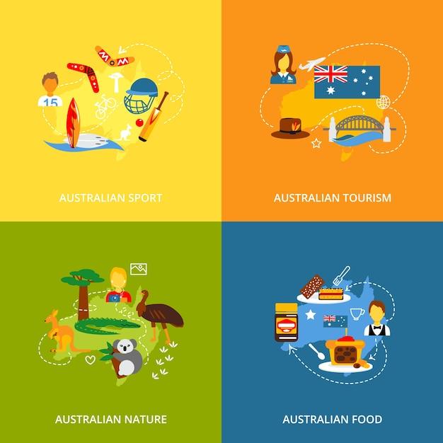 Icone dell'australia impostate piatte Vettore gratuito