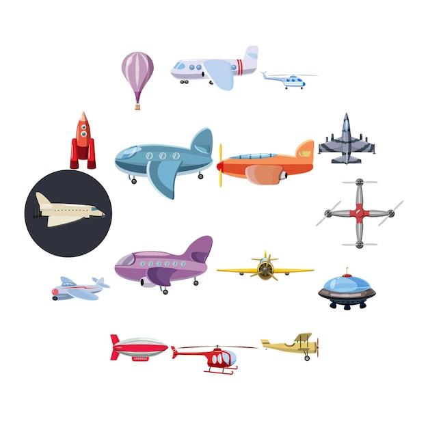 Icone dell'aviazione messe, stile del fumetto Vettore Premium