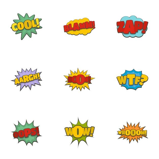 Icone dell'etichetta discografica messe, stile del fumetto Vettore Premium