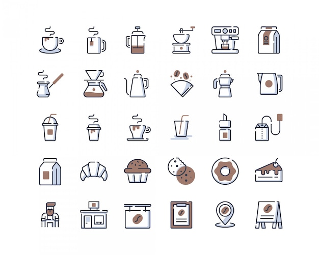 Icone della caffetteria color-line Vettore Premium