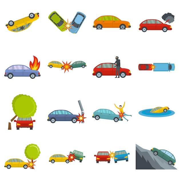 Icone della cassa di incidente stradale di incidente messe Vettore Premium