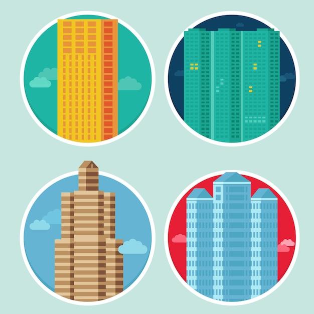 Icone della città di vettore in stile piano su emblemi rotondi Vettore Premium