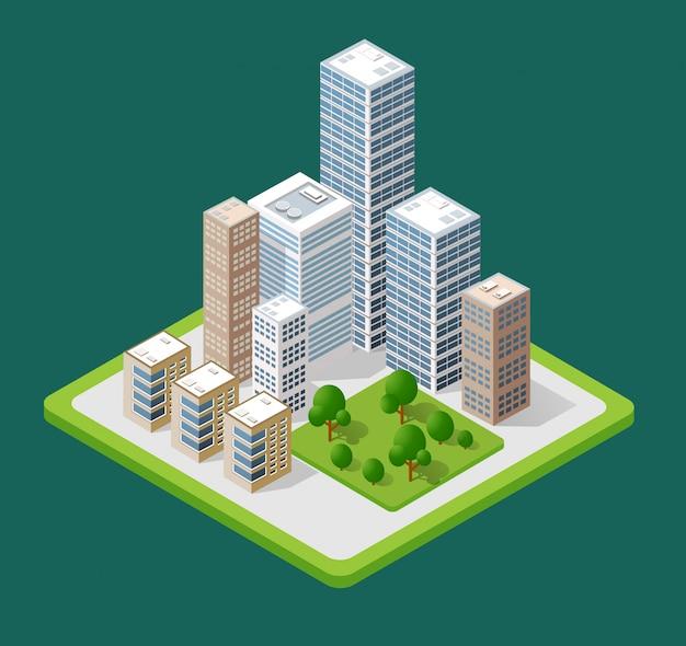 Icone della città isometrica 3d Vettore Premium