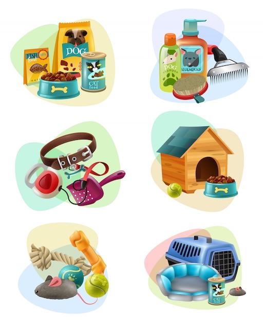 Icone della composizione di concetto di cura dell'animale domestico messe Vettore gratuito