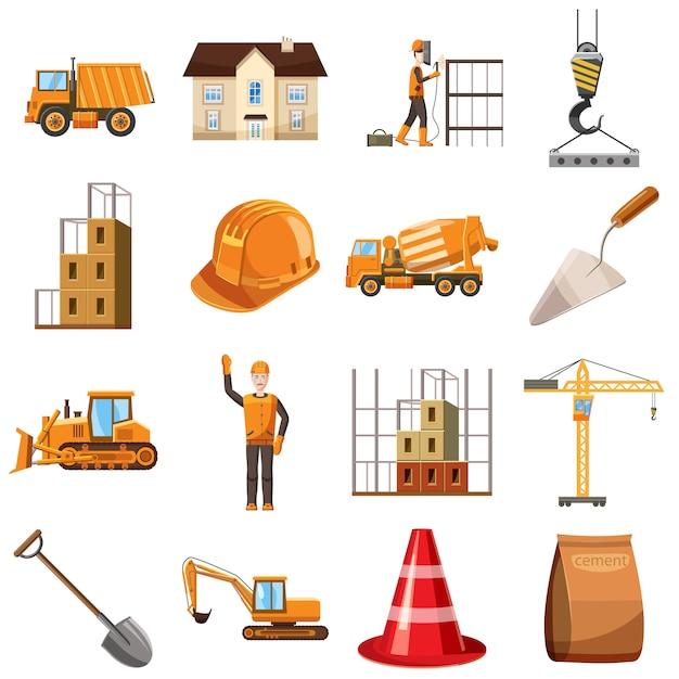 Icone della costruzione impostate, stile del fumetto Vettore Premium