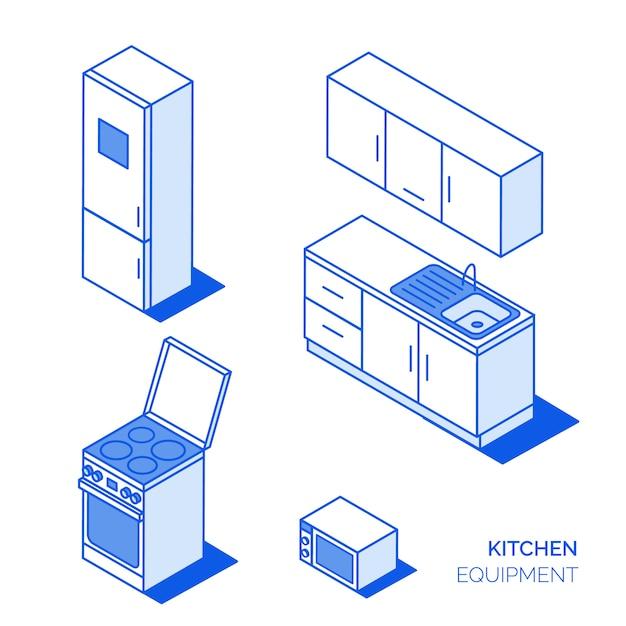 Icone della cucina isometrica Vettore Premium