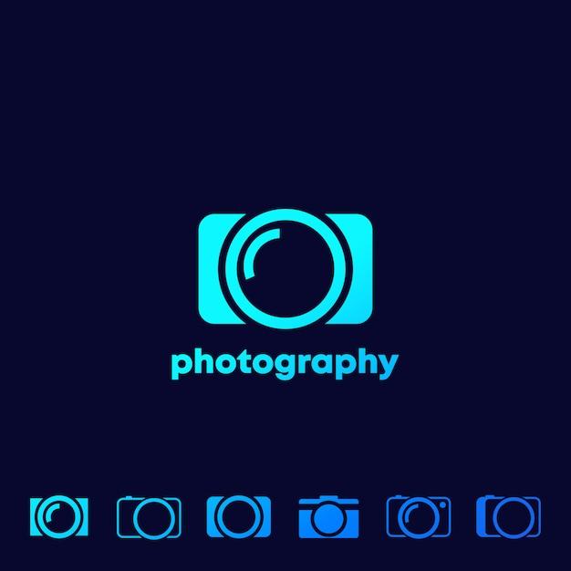 Icone della fotocamera, set logo fotografia Vettore Premium