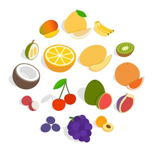Icone della frutta messe, stile isometrico 3d Vettore Premium