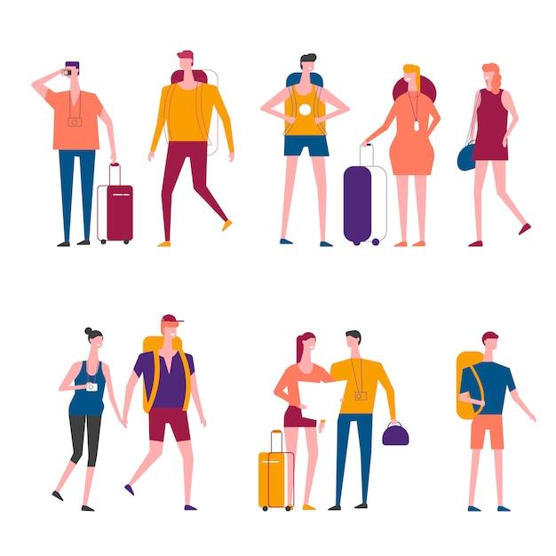 Icone della gente di viaggio di vettore del fumetto dei viaggiatori Vettore Premium