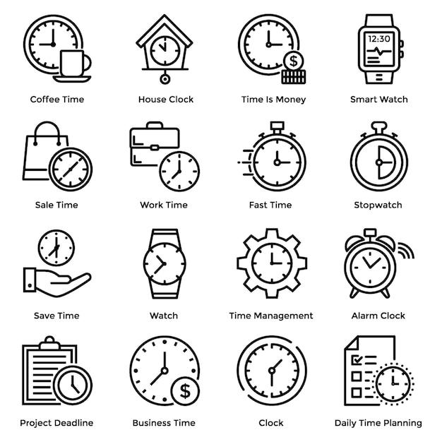 Icone della linea del tempo Vettore Premium